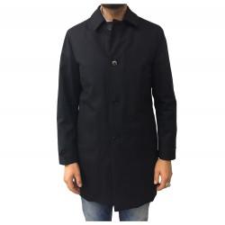 ASPESI cappotto uomo blu tessuto spinato fodera staccabile PERFETTO CI06 F517