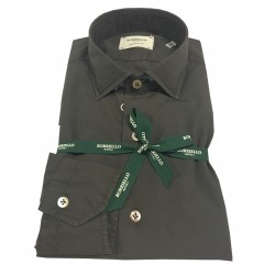 BORRIELLO NAPOLI shirt brown man art 4046/6 neck IDRO 100% cotton MADE IN ITALY