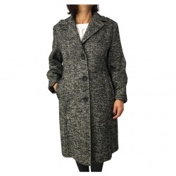 ELENA MIRO woman coat white / black herringbone length 107 cm