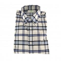 BROOKS BROTHERS camicia uomo quadri bianco/blu 100% cotone MADE IN USA