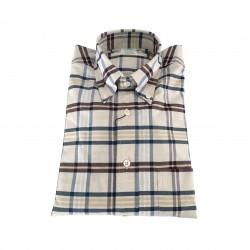 BROOKS BROTHERS camicia uomo quadri ecru/moro/blu 100% cotone MADE IN USA