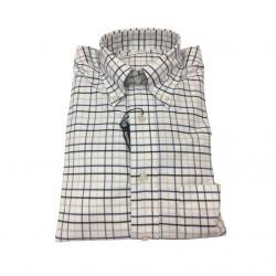 BROOKS BROTHERS camicia uomo quadri bianco/blu/azzurro 100% cotone MADE IN USA