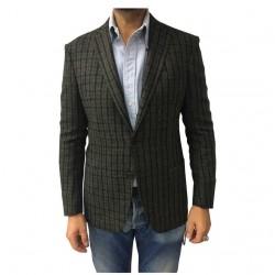 ASPESI giacca uomo quadri verde/nero/bordeaux 100% lana MADE IN ITALY vestibilità slim