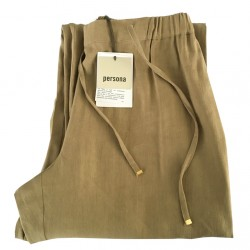 PERSONA by Marina Rinaldi woman biscuit trousers with elastic waistband and lace