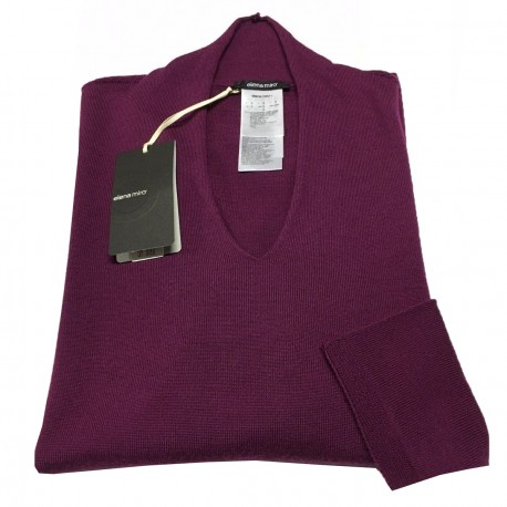 ELENA MIRÒ knit V-neck Women's dark fuchsia 100% wool