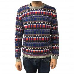 IRISH CRONE maglia uomo grigio/bluette/rosso 75% lana 7% mohair MADE IN ITALY