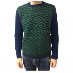 IRISH CRONE maglia uomo blu/verde/bluette 75% lana 7% mohair MADE IN ITALY