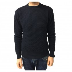 GRP man crew neck sweater, blue diamond pattern processing MADE IN ITALY