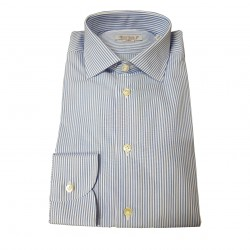 BRANCACCIO man long sleeve shirt, white sky line 100% cotton