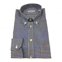 BRANCACCIO camicia uomo botton-down quadri azzurro/moro