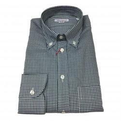 BRANCACCIO camicia uomo botton-down quadretti blu/verde 100% cotone