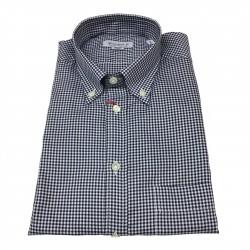 BRANCACCIO camicia uomo botton-down quadretti bianco/blu 100% cotone