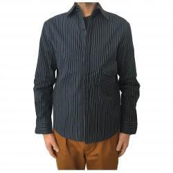 INDIGO AND GOODS camicia uomo blu righe bianco mod COPINGER SHIRT 100% cotone