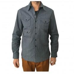 INDIGO AND GOODS camicia uomo blu righe bianche mod RIDOUT SHIRT 100% cotone MADE IN ENGLAND