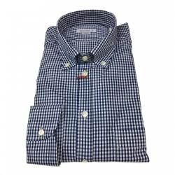 BRANCACCIO camicia uomo botton-down quadretti blu/bianco 100% cotone