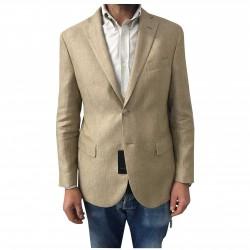 LUIGI BIANCHI MANTOVA giacca uomo sfoderata beige 60% lino 40% lana