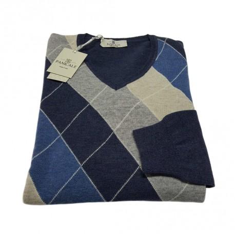 PANICALE maglia uomo,collo a v, disegno argyle colore blu denim 100% lana MADE IN ITALY