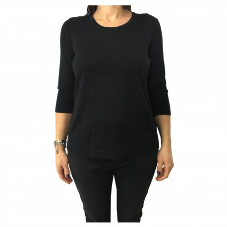 PERSONA by Marina Rinaldi women's sweater black 3/4 sleeve ANICE model 50%  wool 50% acrylic