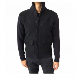 GRP blouson man with barbed front fabric, color blue, 50% alpaca 50% extra-fine merino wool MADE IN ITALY