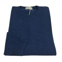 DELLA CIANA man crew neck sweater blue 80% wool 20% cashmere MADE IN ITALY