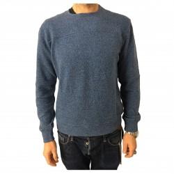 BKØ felpa uomo blu mélange mod BU17614 98% cotone 2% elastan MADE IN ITALY