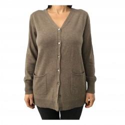 CA' VAGAN cardigan lungo donna tortora 90% lana 10% cashmere 13305 MADE IN MONGOLIA