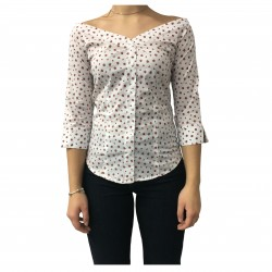 AND camicia donna cotone bianco/rosso coccinelle mod D763E820T
