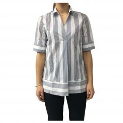 AND camicia donna cotone mezza manica bianco/blu mod D477E818M