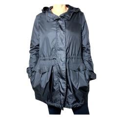 ASPESI giaccone donna modello ABAT -JOUR SUMMER blu con cappuccio