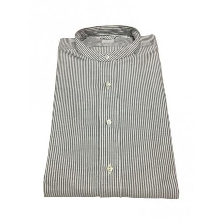 ASPESI camicia uomo, modello CE76 B032 BRUCE, collo coreano, righe bianco/nero, 100% cotone