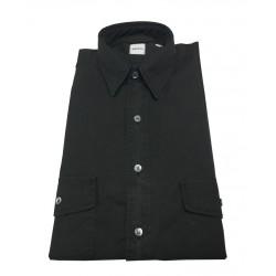 ASPESI man shirt, black color, pattern CE74 2561 GASOLINA, 100% cotton