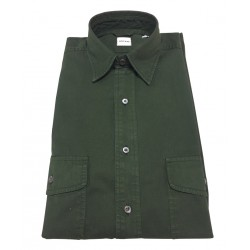 ASPESI man shirt, dark green color, pattern CE74 2561 GASOLINA, 100% cotton