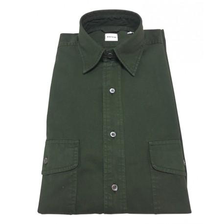 ASPESI camicia uomo verde scuro mod CE74 2561 GASOLINA 100% cotone