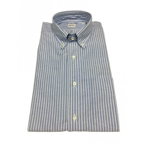 ASPESI man's shirt CE14 B032 B.D. LEAN oxford blue / white stripes, 100% cotton