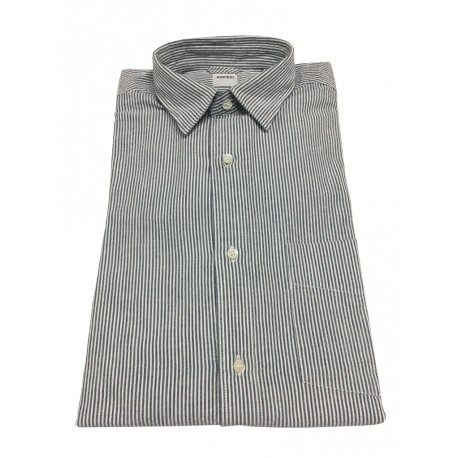 ASPESI man shirt white / anthracite stripes, with long sleeves and pocket model REDUCED II CC02 A330 100% cotton