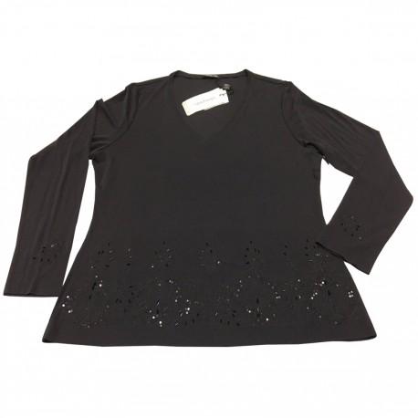 ELENA MIRO' maglia donna nera con applicazioni in tinta 100% seta