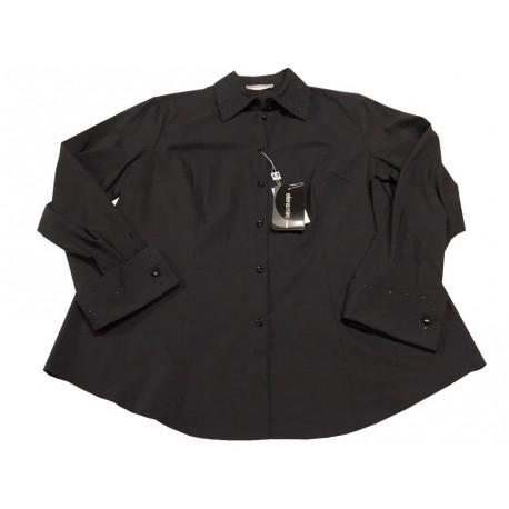 ELENA MIRO' camicia donna nero collo e polsi con strass in tinta 67% cotone 33% poliestere