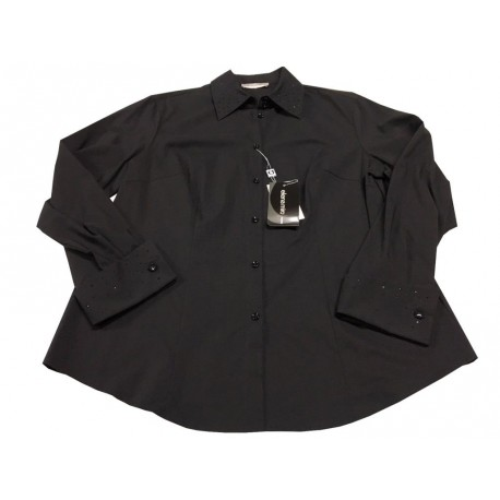 ELENA MIRO' shirt woman black collar and cuffs with strass  67% cotton 33% polyester