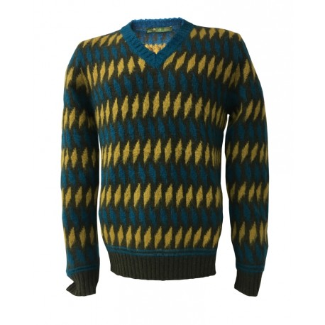 IRISH CRONE maglia da uomo, collo a V, fantasia petrolio/moro/senape MADE IN ITALY