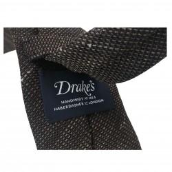 DRAKE'S cravatta uomo sfoderata cm 7 moro/beige 70% seta 30%lino MADE IN ENGLAND