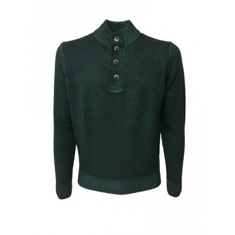 FERRANTE knit MAN Neck with buttons green 100% wool MADE IN ITALY