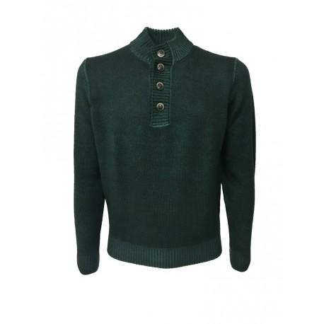 FERRANTE maglia uomo collo con bottoni verde TINTO FREDDO 100% lana MADE IN ITALY