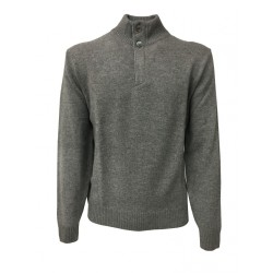 FERRANTE knit man with neck buttons and concealed zip, gray