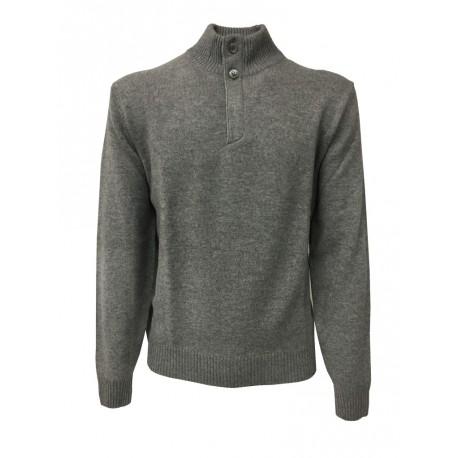 FERRANTE maglia uomo con bottoni collo e zip nascosta, grigio