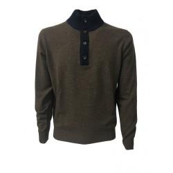 DELLA CIANA maglia uomo con bottoni moro/blu 80% lana 20% cashmere MADE IN ITALY