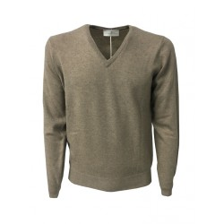 DELLA CIANA knit man to V taupe 80% wool 20% cashmere slim fit MADE IN ITALY