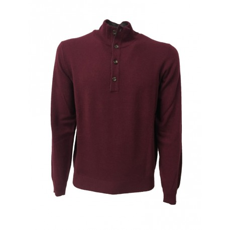 DELLA CIANA knit man with buttons, burgundy, gray interior neck 80% wool 20% cashmere MADE IN ITALY