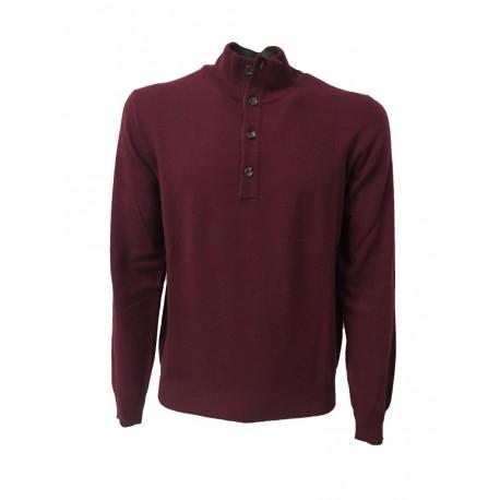 DELLA CIANA maglia uomo con bottoni bordeaux interno collo grigio 80% lana 20% cashmere MADE IN ITALY