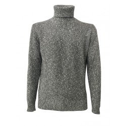 PANICALE man gray/white turtlenecks sweater 100% cashmere MADE IN ITALY