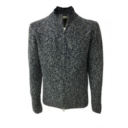 PANICALE man blue/ice cardigan with zip 100% cashmere MADE IN ITALY